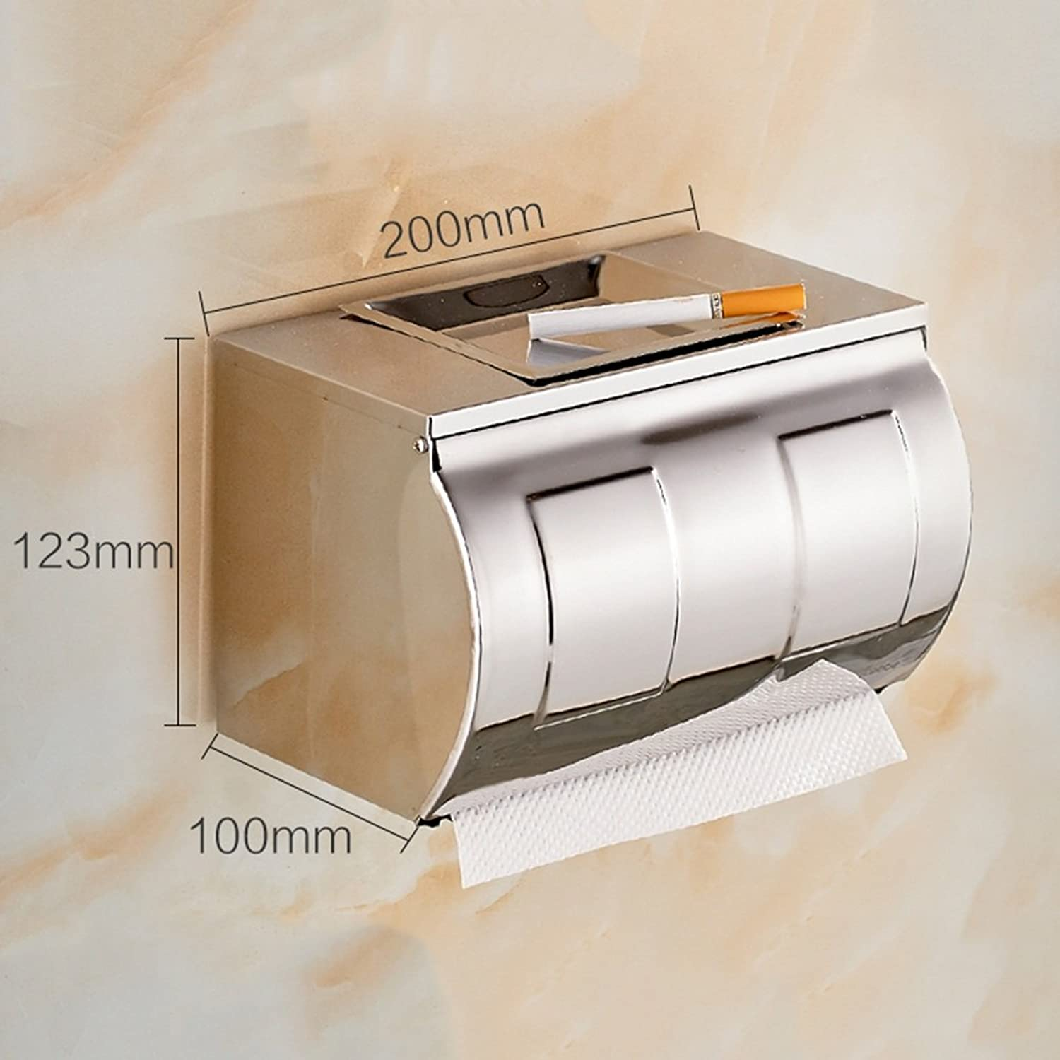 WENZHE Over Toilet Bathroom Toilet Roll Holder Storer Wall Mounted Tissue Box Waterproof Clamshell Stainless Steel, 4 Sizes Storage Racks Unit (color   D-200  100  123mm)