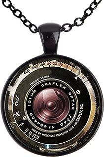 Family Decor Vintage Camera Antique Camera Lens Pendant Necklace Cabochon Glass Vintage Bronze Chain Necklace Jewelry Handmade
