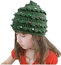 Jeash Unisex Christmas Winter Knitted Crochet Beanie Santa Hat Bearded Caps Toddler Kid Girl&Boy Baby Infant Christmas Crochet Knit Stars Hat Hairball Cap