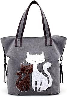MIFXIN 女式帆布单肩包,可爱的猫咪包,休闲手提包,购物包,旅行沙滩手提包,大手提包,女士女孩