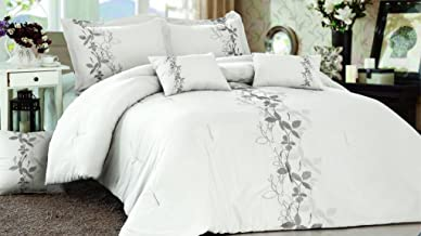 Casual Elegance Embroidery Classics 6 Piece King Comforter Set - Exclusively from Home Dynamix - Erin Linen
