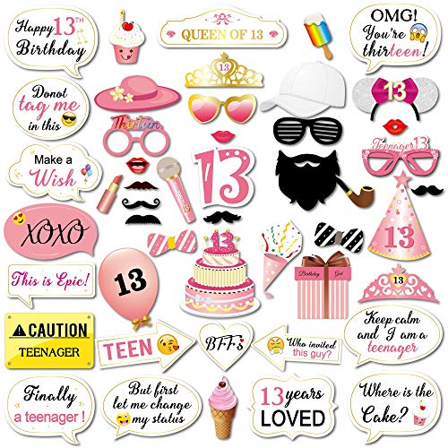 Konsait 13 Birthday Photo Booth Props Party Kit(48Counts), Funny Sweet Chic Thirteen Photo Props with Sticks Pink Decor Great for 13th Happy Birthday Party Favors Supplies for Teenage Girls