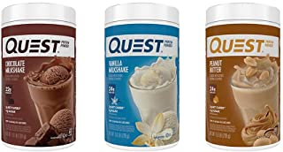 Quest Protein Powder 3-Pack: 1.6 lb Vanilla, Chocolate, Salted Caramel (Vanilla, Chocolate, Peanut Butter, 1.6 lb (3 Pack))