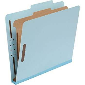 "Amazon Basics Classification Folder- 100% Recycled, 1 Divider, 2"" Embedded, Letter, Light Blue, 10 per Box"