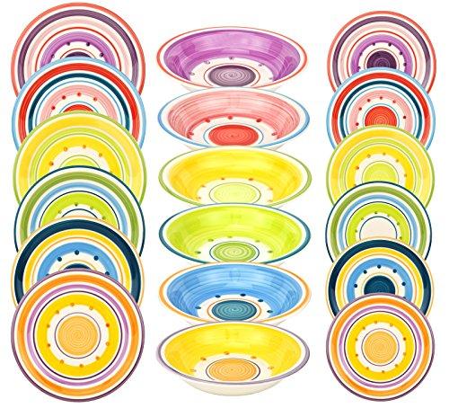 18-teiliges Tellerset Cefalú für 6 Personen, handgefertigtes Geschirr im mediterranen Stil, 6 Dessertteller + 6 Speiseteller flach + 6 Suppenteller tief