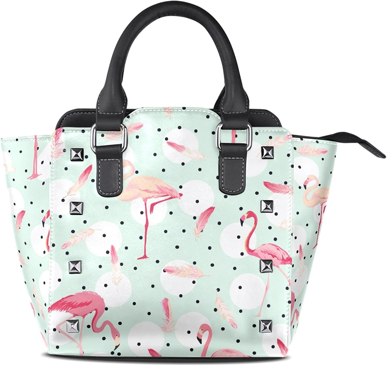 My Little Nest Women's Top Handle Satchel Handbag Retro Dots Flamingo Bird Ladies PU Leather Shoulder Bag Crossbody Bag