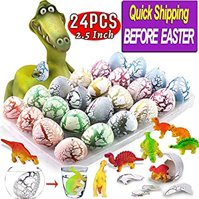 AMENON 24 Pcs Easter Eggs Dinosaur Eggs That Hatch in Water Dinosaur Party Favors with Dino Toys, Surprise Easter Gifts for Kids Boys Easter Basket Stuffers (24 Pack Large Dinosaur Egg)