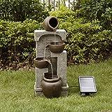 Peaktop Fuente de Agua de energía Solar Jardín Luces de Adorno de Piedra de Bronce PT-SF0004