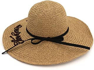 Summer hat Foldaway Straw Hat Ladies Oversized Visor Breathable Sunscreen Cap Magnanimous Wing Cap Beach Hat hat (Color : Coffee, Size : 56-58CM)