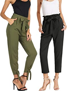 Womens Casual High Waist Pencil Pants with Bow-Knot...