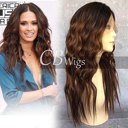 Cbwigs sans colle ombré Marron Loose Wave Cheveux humains Perruque lace front pour femme Naturel Wave brésilien Remy Perruques (18 inch 150% Noeuds blanchis, 5.5\