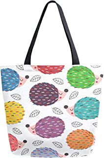 Colorful Hedgehogs Canvas tote Bag for Women Large Tote Bags Heavy Duty Reusable Grocery Bags Casual Shoulder Handbag for Girls