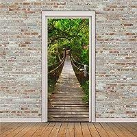 ドアステッカー木製吊橋PVC粘着壁紙Diy家の装飾シミュレーションポスターウォールステッカー90X215Cm
