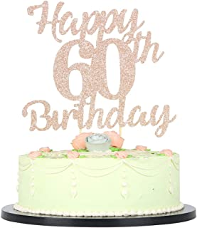 LVEUD 60th Birthday Cake Topper for Happy Birthday 60 Rose Gold 60th Cake Topper,Happy Birthday Cake Topper Cake Ornament (60th)