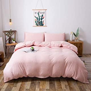 Household Duvet Cover, Jersey Knit Cotton Bedding Duvet Cover Set, 3-Piece, Ultra Soft and Easy Care, Simple Style Bedding Set with Zipper Closure Includes 2 Pillowcase