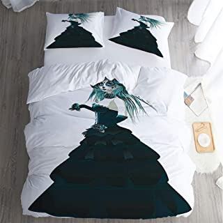3 piece polyester set soft silky,California King bed Sheet 3 Piece Set,Girly Decor Sugar Skull Girl Prom Dress RosesHand Gothic Halloween Lady Zombie Vampire Image Green White pillowcase,Bed Sheet.