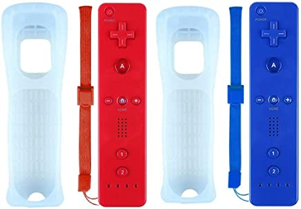 $30 » ZeroStory 2 Packs Classic Wireless Controller for Nintendo Wii and Wii U Console, Gamepad with Protective Silicone Case and Wrist Strap (Red and Dark Blue)
