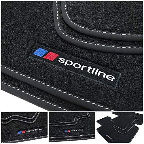 tuning-art BF127 Fußmatten mit Sportline Design Bandeinfassung und Ziernähten