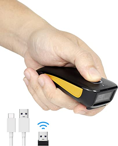 NETUM QR Code Scanner, Mini Barcode Scanner Bluetooth Compatible, Small Portable USB 1D 2D Bar Code Scanner for Inven...