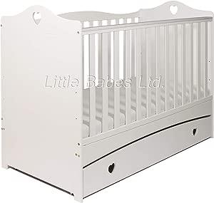 New Little Babes Ltd Sweet Love Heart Imogen White Baby Cot Bed  amp  Drawer ECO Airflow Nursery Fibre Mattress 140x70x10cm Converts Junior Bed Toddler Bed