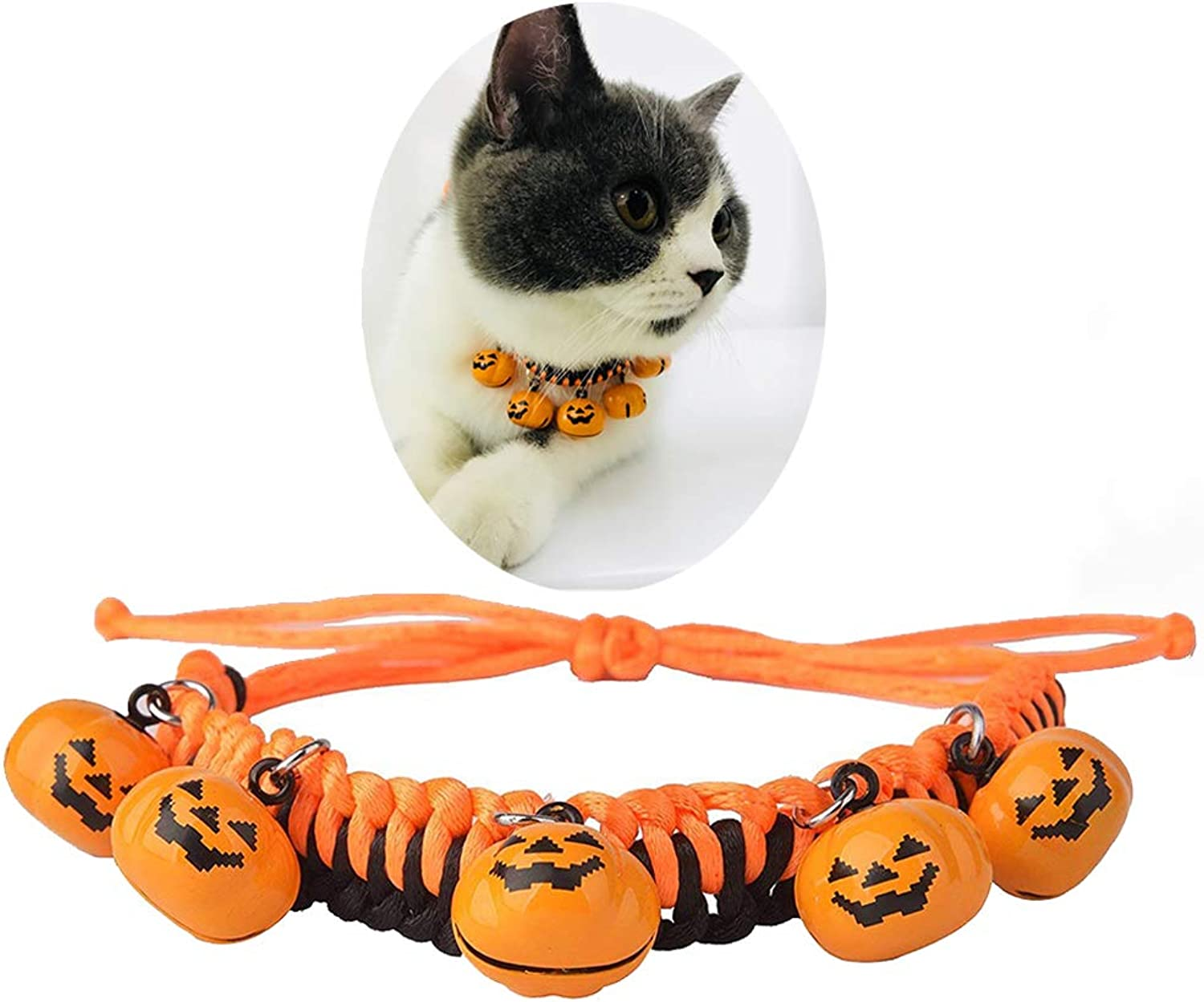 Cat Collar Dog Collar with Pumpkin Bells Strawberry Frog Christmas Thanksgiving Santa Claus Shape Bell for Dog Collar Necklace Adjustable