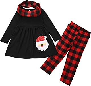 Toddler Baby Girl Christmas Outfit Red Plaid Tunic Top Dress Shirt Leggings Pants Set with Headband Xmas Clothes