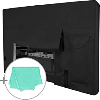 Outdoor TV Cover for 44 to 46 inches LCD, LED, Waterproof, Weatherproof and Dust-Proof TV Screen Protectors with Cleaning Cloth (46 inch,Black)