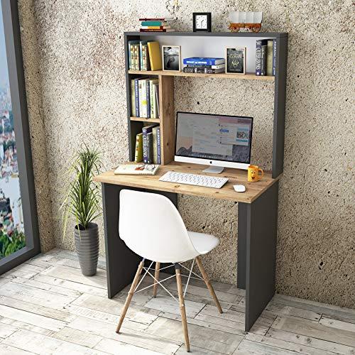 Yurupa Tavolo da Computer,Scrivania Computer con Libreria,Tavolo da Ufficio,Tavolo da Studio,Scrivania per Computer con Ripiani BR2-AA