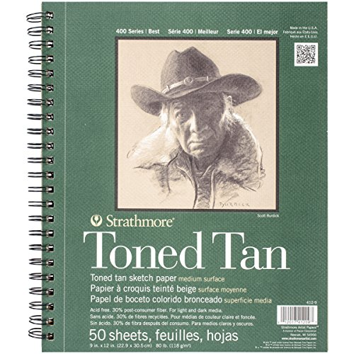 Strathmore 412-9 400 Series Toned Tan Sketch Pad, 9'x12' Wire Bound, 50 Sheets