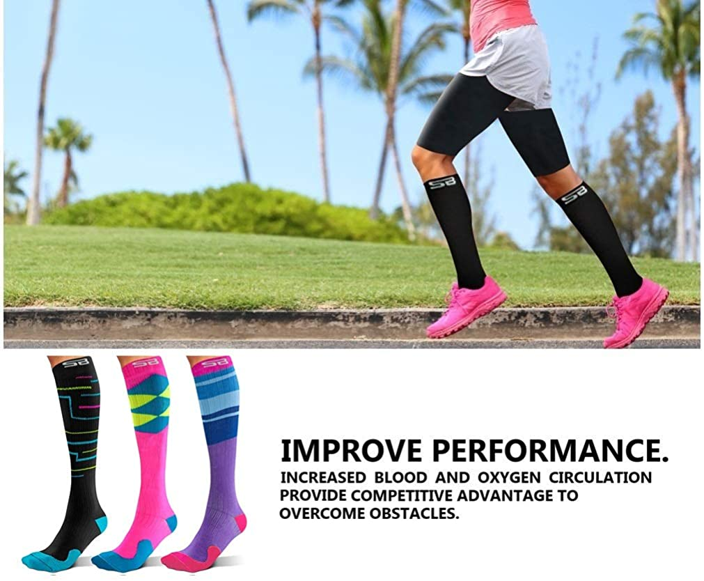 15-20mmHg for Men /& Women SB SOX 3-Pair Compression Socks