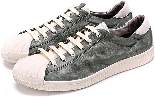 GLSHI Hommes Lace-Up Flats été Nouveaux Chaussures En Cuir Chaussures Décontracté Décontracté Chaussures En Cuir Souple Chaussures Sailor grand Taille 45