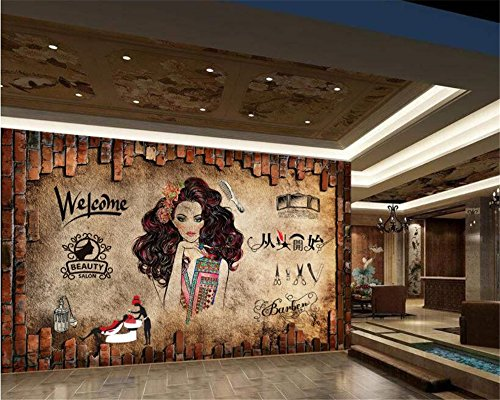 ShAH Papel Tapiz 3D Personalizadas Nostálgico Retro Clásico Wallpaper Maquillaje Belleza Peluquería De Pared De Fondo Papel Tapiz 3D Papel Pintado Wallpaper Fresco Mural 150cmX100cm