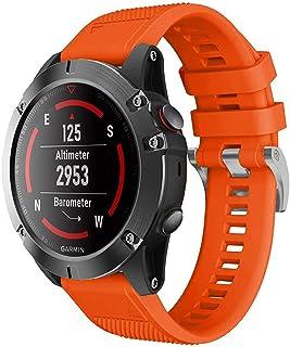 Haotop Bands Compatible with Garmin Fenix 5 22mm, Width Soft Silicone Watch Strap for Garmin Fenix 5/Fenix 5 Plus/Forerunner 935/Approach S60/Quatix 5 (Orange)