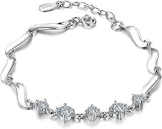 أساور من الفضة الإسترلينية 925 الساحرة للنساء كريستال مجوهرات أساور سلاسل هدايا للفتيات سوار يانجين (اللون: FQL20367، الحج...