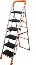 Parasnath Orange Diamond Heavy Folding Ladder with Wide Steps 6 Steps Ladder (Made in India)