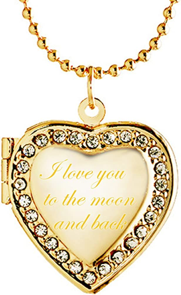 Latigerf I Love You to The Moon Heart and Locket Necklace Popular It is very popular standard Back E