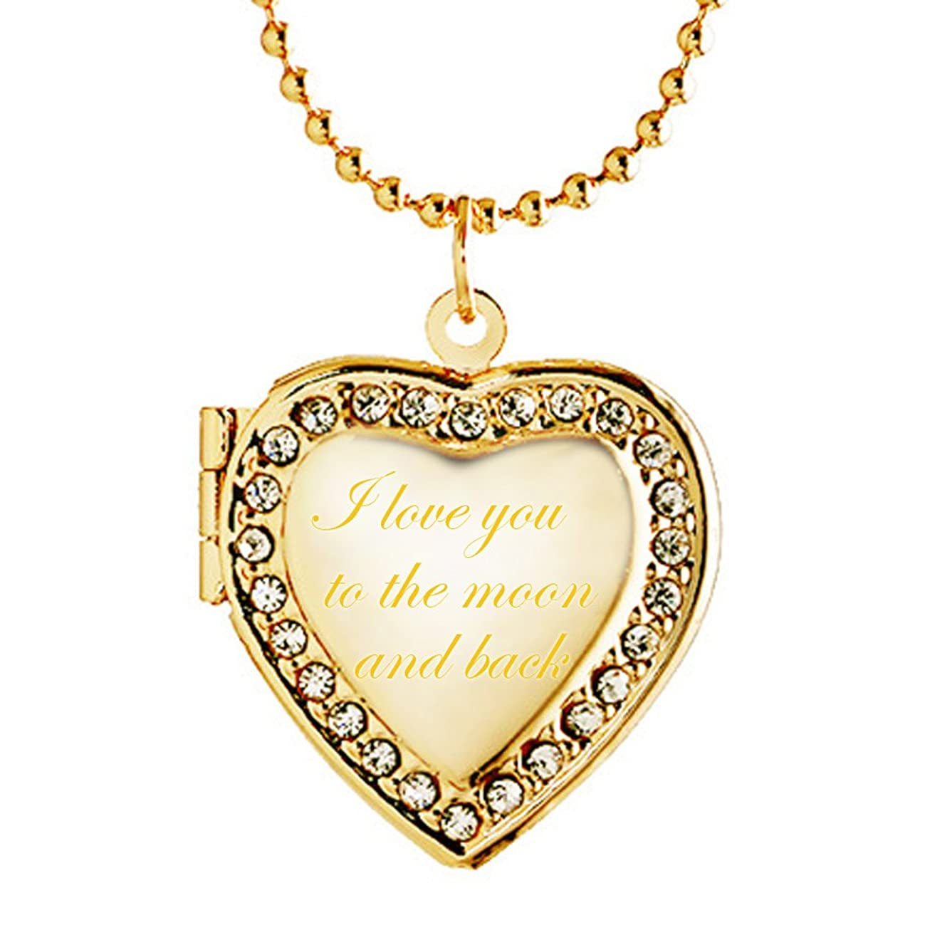 Latigerf I Love You to The Moon and Back Heart Locket Necklace Engraved Pendant Photo