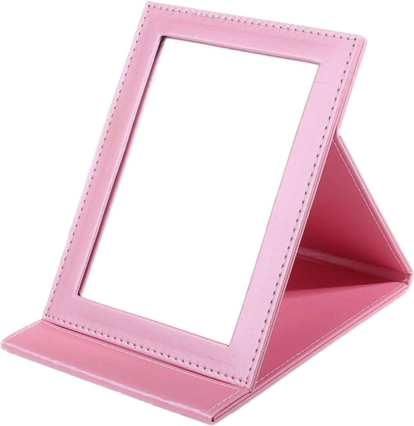 鳴り響く隣人重大Sunset House 折りたたみミラー レザー 鏡 ピンク 小 中 大 3サイズ (M)