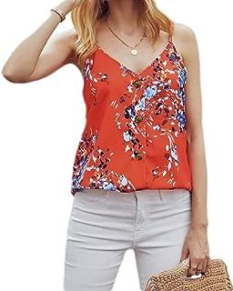 FSSE Womens Sexy V Neck Tank Spaghetti Strap Button Up T-Shirt Blouse Tank Top