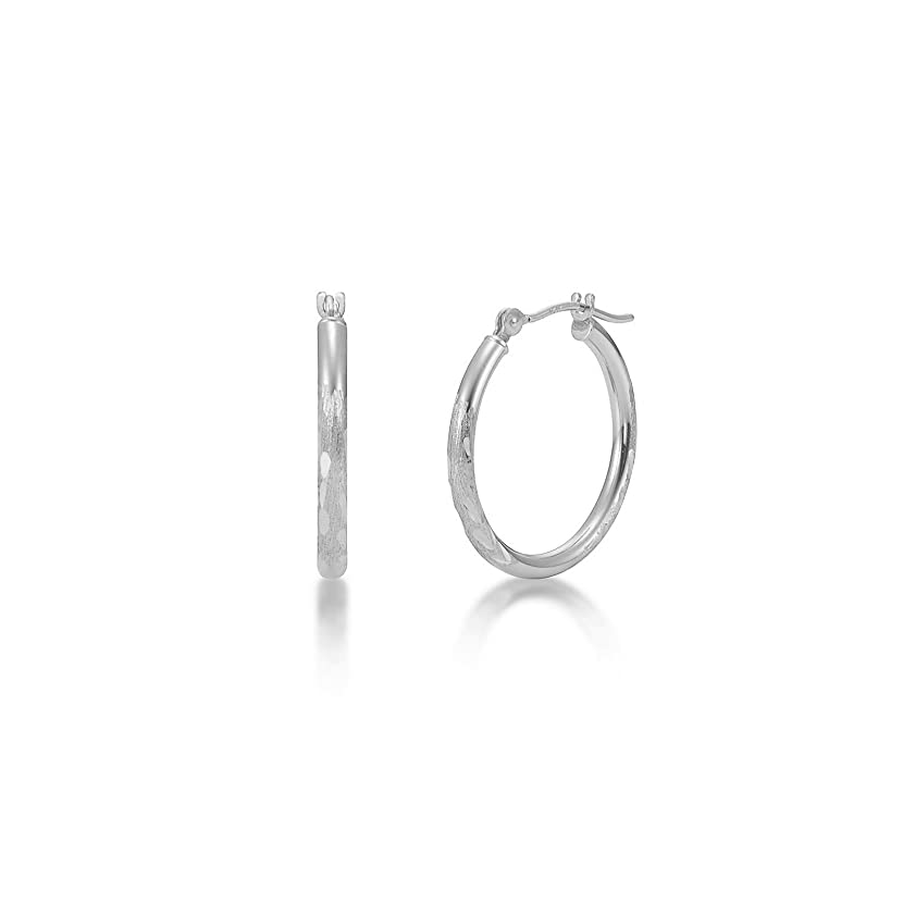 White & Yellow Gold 2mm Hoop Earrings Satin Diamond Cut 20mm - 40mm sqeucvxy93371867