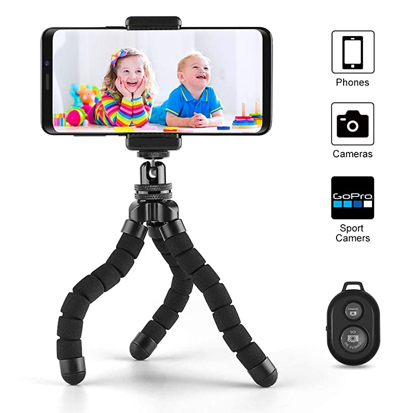 Phone Tripod, Cafele Portable and Adjustable Camera Stand Holder with Universal Clip and Wireless Remote Shutter, Compatible with iPhone, Android Phone, Camera, Sports Camera GoPro【2018 Version】