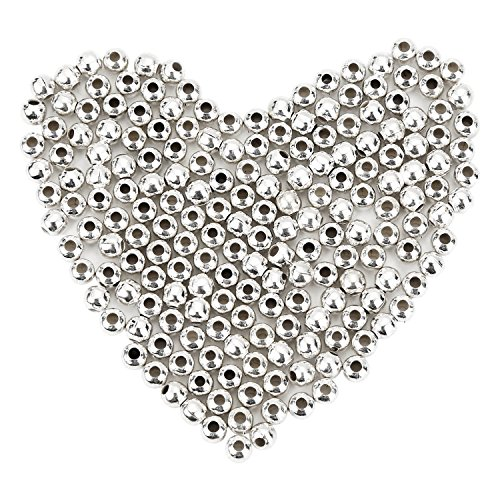 Pangda 1000 Pack 4 mm Metal Spacer Beads Metallic Plated Round Beads Tiny Smooth Beads for Necklaces, Bracelets and Jewelry Making (Silver)