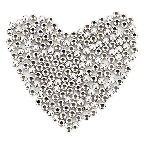 Pangda 100 Pacchi 4 mm Distanziatori in Metallo Placcate Perline Tonde Metallo Piccole Perline Lisce per Creazione di Collane, Bracciali e Gioielli (Argento)