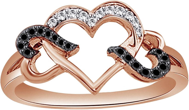 AFFY schwarz-weie Zirkonia Herz-Ring, 18kt verGoldet, Sterling-Silber