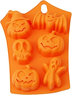 Orange Pumpkin Skull BPA Free Non-Stick Silicone Baking Mold for Hard Candy Chocolate Ice Cookies Halloween Party Decorations Supplies