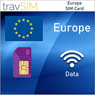 travSIM Three UK Data SIM Card for Europe with 12 GB 3G 4G LTE Mobile Data Valid for 120 Days - (UK Three) SIM Card for Europe - Free Roaming in European Countries
