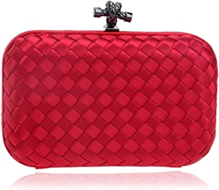 Redland Art Women's Fashion Polyester Woven Mini Clutch Bag Wristlet Shoulder Crossbody Evening Handbag Catching Purse for Wedding Party (Color : Red)
