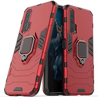LuluMain 適応 ファーウェイ Huawei Honor 20 Pro 多機能ケース リングキックスタンドカバー エクストリーム保護 衝撃吸収性カバー (レッド)