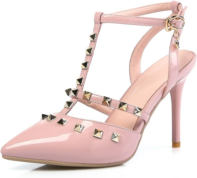 AmoonyFashion Women's Solid Pu Spikes Stilettos Closed Toe Buckle Sandals