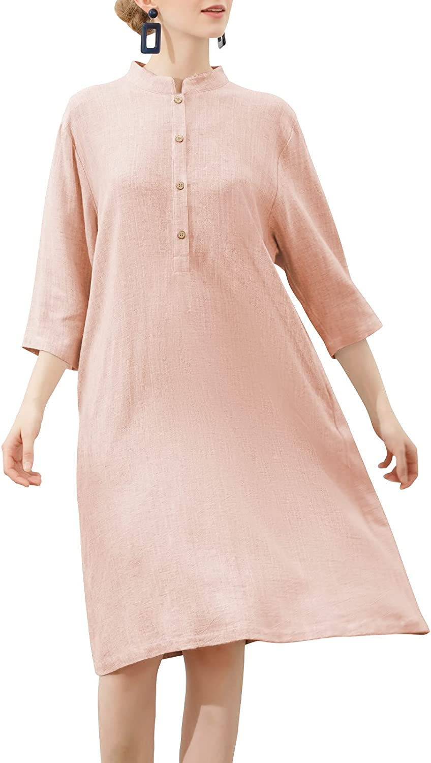 Same day shipping Fort Worth Mall MEOMUA Women's Linen Dresses Button Down Cotton Sleeve 4 Midi 3